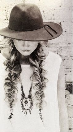 Fish Braided Hair ---- Boho chic in black and white wonder land, love the hat