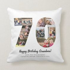 Modern 70th Number Photo Collage Custom Greeting Throw Pillow - tap, personalize, buy right now! #ThrowPillow #photo #collage #birthday #number #script