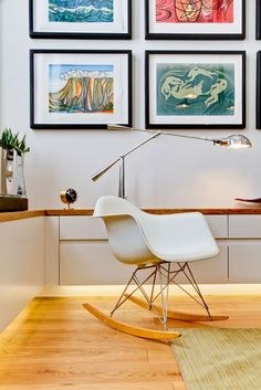 under cabinet lighting level. love the lamp - window seat is to the left - apartment designed by Daniel Hopwood located on the first floor of a building with a Georgian façade situated close to London's Regents Park. Design for Living by Daniel Hopwood Decor, Furniture, Interior Design Inspiration, London Apartment, Modern Rocking Chair, Modern Interior Design, Modern Interior, Living Design, Furniture Design