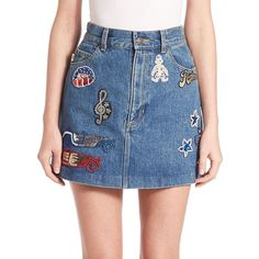 Marc Jacobs Embellished Denim Mini Skirt ($520) ❤ liked on Polyvore featuring skirts, mini skirts, apparel & accessories, blue, long blue skirt, high-waisted skirts, high waisted long skirt, vintage skirts and high waisted mini skirt