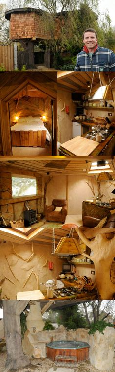 Fancy luxury tree house hot tub, 60in TV screen and Sky. #treehouse #garden