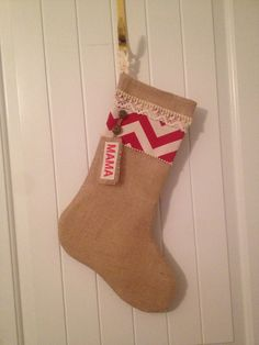 Burlap Christmas Stocking with Monogram