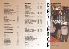 Das LANGE, Pub und Beisl  www.daslange.at  Speisekarte - Folder Außenseite Food Menu, Alcohol Free, Goodies, Cards