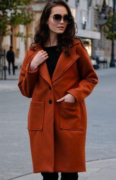 Elegancki oversizowy płaszcz Roco rudy P013 Coat, Model, Jackets, Fashion, Mathematical Model, Down Jackets, Moda, Fashion Styles
