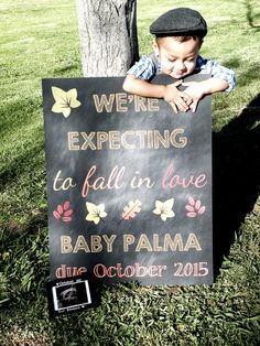 Fall Theme Pregnancy Announcement Fall In by ChalkingItUpBoards