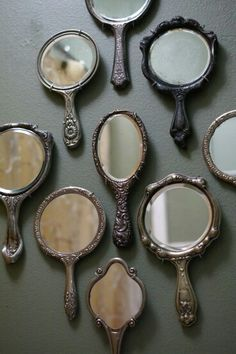 Antique & patina silver hand- mirrors