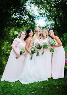 Bridesmaids in Blush|Romantic Pink & Gold Summer Wedding|Photographer: Caroline Ross Photography