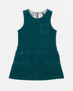 6 Years Girls Jumper by Gymboree | Kidz Outfitters Teal corduroy jumper with diagonal weave, band on waist, three pockets, and zipper closure on back. #kidsclothes #kidsfashion #kidswear