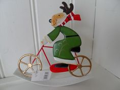 METAL GREEN & RED REINDEER ON A ROCKING BICYCLE CHIC N SHABBY CHRISTMAS