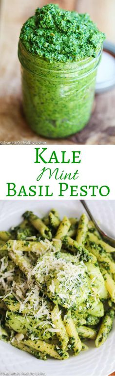 Kale Mint Basil Pesto - a summer pesto that's healthy and delicious ~ toss with pasta (hot or cold), add a few spoonfuls to potato salad, or use it on sandwiches and pizza ~ http://jeanetteshealthyliving.com