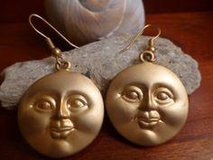 Happy Buddha Golden Sun Earrings  Gold Tone by ChicAvantGarde, $26.00