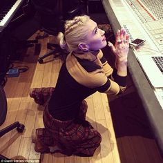 Working hard: The No Doubt songstress shared a picture from inside her studio last week wh...