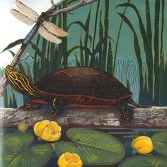 loretta krupinski Animal Habitats, Water Lilies, Photo Illustration, Illustrators, Whimsical, Watercolor, Lizards, Frogs, Turtles