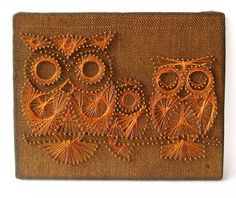 Mid Century Nail and String Art Owl - Mid Century Modern Wall Art, Owl Decor, Retro Wall Hanging, Retro Nail Art, Burlap and Copper Wire Art...
