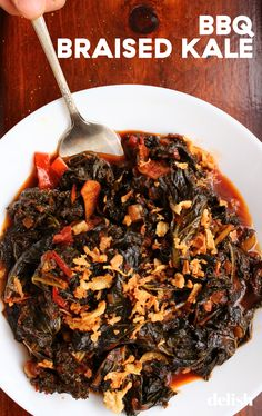 While this recipe is vegan, it's inspired by the idea of those smoky little numbers that accompany a good brisket platter. Easy Vegetable Recipes, Kale Recipes, Vegetable Sides, Vegetarian Recipes, Make Bbq Sauce, Warm Food, Plum Tomatoes, Food To Make, Recipes