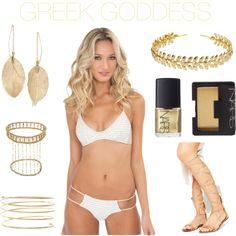 HALLOWEEN IN BIKINIS: GREEK GODESS Bring out your inner Greek Goddess (and bikini) out this halloween! #AllGoldEverything #bikini #halloween #gold #goldsandals #gladiators