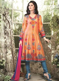 Resham Chanderi Cotton Readymade Suit In Orange Model: Anarkali Suits Online Shopping, Salwar Suits Online, Designer Punjabi Suits, Designer Anarkali, Silk Anarkali Suits, Salwar Kameez, Churidar, Latest Sarees, Indian Ethnic Wear