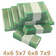4 pçs/lote 4x6 5x7 6x8 7x9 Double Side Prototype PCB Universal Printed Placa de circuito Protoboard Para Arduino