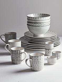 NEW Grey Folk Dinnerware