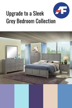 Upgrade to a Sleek Grey Bedroom Collection Bedroom Sets, Bedding Sets, American Freight Furniture, Grey Bedroom Furniture, Agreeable Gray, Headboard And Footboard, Neutral Colour Palette, Weathered Wood, Awesome Bedrooms