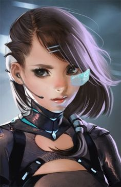 Woman with glasses-sized screens, #cyberpunk #scifi inspiration