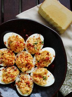 Your New Favorite #Recipe: Pimento Cheese Deviled Eggs on bourbonandboots.com