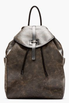 ALEXANDER MCQUEEN Black mottled leather perforated skull backpack