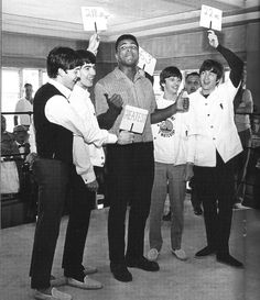 The Beatles meet Cassius Clay, later to become Muhammad Ali. Miami, 1964. The band originally wanted a photo shoot with wrestling champion Sonny Liston rather than the less known Cassius Clay (who...