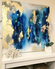 Sold Large Abstract Art Large Canvas Painting Royal Blue White Gold Leaf Glitter with quot x 48 quot real gold leaf Large painting Sold Large Abstract Art Large Canvas Painting Royal Blue White Gold Leaf Glitter with 8243 x 48 8243 real gold leaf Large Canvas, Canvas Art, Blue Canvas, Art Texture, Feuille D'or, Original Paintings, Art Paintings, Large Painting, Resin Art