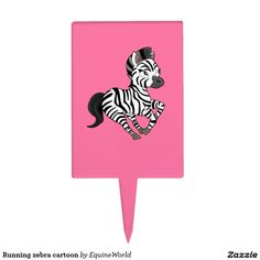 Running zebra cartoon cake pick