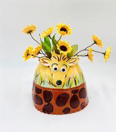 Hand Painted Giraffe Vase or Utensil Holder in Terra Cotta Clay Ceramic or Pottery Clay Vase, Inside The Box, Pottery Designs, Utensil Holder, Studio Art, White Clay, Yellow And Brown, Terra Cotta, Art Studios