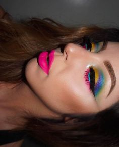 Love this colorful gal! @juscallmetara wearing the Radioactive stack on the eyes! ⚡️ #meltcosmetics #meltradioactive