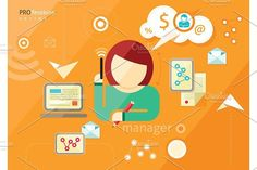 Manager profession. Workplace office #vector #manager