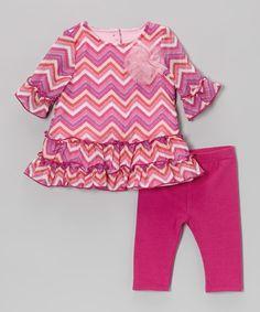 Pink Zigzag Ruffle Dress & Leggings - Infant #zulily #zulilyfinds