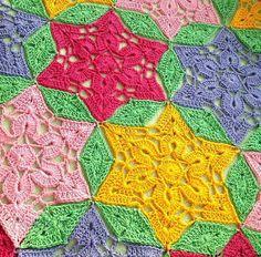 tejidos artesanales en crochet: como tejer un motivo de estrella de 6 puntas en cr...