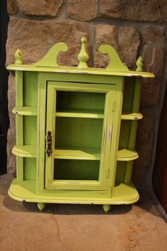 Shabby Chic Distressed Lime Green Curio Cabinet by vinestjewelry, $38.00