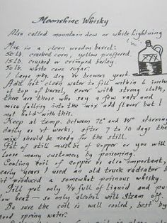 Fatback and Foie Gras: Southern Style Potato Salad Recipe: Virginia Community Cookbook Edition.moonshine recipe found handwritten in this cookbook. Retro Recipes, Old Recipes, Vintage Recipes, Wine Recipes, Cooking Recipes, Cheap Recipes, Vintage Food, Cooking Ideas, Homemade Alcohol