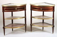 Martin Ohneberg Pair of Louis XVI Mahogany Encoignures or Dessert Consoles | From a unique collection of antique and modern corner cupboards at https://www.1stdibs.com/furniture/storage-case-pieces/corner-cupboards/