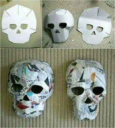 comment faire un masque crâne original en papier mâché – un bricolage Hallowe… how to make an original papier mache skull mask – a DIY Halloween to do with children Maske Halloween, Soirée Halloween, Holidays Halloween, Halloween Art Projects, Halloween Quotes, Halloween Outfits, Mascara Papel Mache, Skull Template, Mascaras Halloween