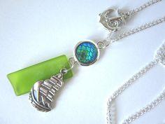 Ketten mittellang - Halskette SCHIFF VOR ANKER * Kette * Cabochon grün - ein…