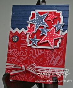By Wendy Weixler. Her card opens only at the top. The circular star embellishment is the pivot point.