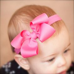 Baby Bow, MEDIUM Single Layer Loopy Grosgrain Boutique Baby Headband Bow, ANY COLOR 100 colors,  Baby Bow Headband, Boutique Headband on Etsy, $10.43 AUD