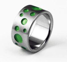 Unique Titanium Designer Wedding Ring - Polka Dot