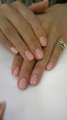 I'm pretty much obsessed with nude nail polish. It's pretty, goes with … I'm pretty much obsessed with nude nail polish. It's pretty, goes with everything, and is totally classic. Fabulous Nails, Gorgeous Nails, Pretty Nails, Hair And Nails, My Nails, Nail Polish, Nude Nails, Pink Nails, Creative Nails