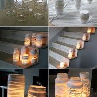 Image Source: the forge style To make these jar luminaries you will require some empty glass jars, yarn, spray paint and tea lights. First wrap yarn around