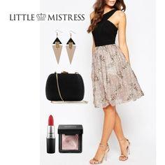 Vestido con falda metalizada de Little Mistress. Talla: 40 (pequeña). Color: Negro / visón.