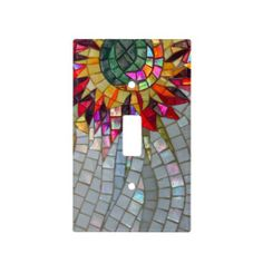 Floral Mosaic Light Switch Cover - JUSTART on Zazzle  #justart #zazzle #switch #cover #mosaic #color #shiny #bling #silver #green #yellow #red #orange #pink #Purple #home #decor #floral mosaic