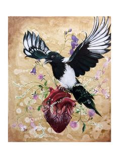 Art Print: My Wild Heart by ArtLisbethThygesen on Etsy Magpie, anatomical heart, heart, wild flower, skade, corvid, corvidae, wild.