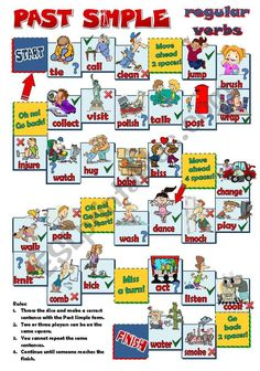 A board game to practise Past Simple regular verbs. Students have to make affirm… A board game to practise Past Simple regular verbs. Students have to make affirmative, negative or interrogative sentences. Hope U find it useful. Have a nice Friday! English Grammar Worksheets, Verb Worksheets, Worksheets For Kids, Verb Games, Grammar Games, English Games, English Activities, English Lessons, Learn English