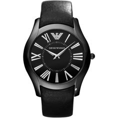 Emporio Armani Men's Valente Slim Leather Strap Watch ($96) ❤ liked on Polyvore featuring men's fashion, men's jewelry, men's watches, mens leather strap watches, emporio armani mens watches, mens watches, mens watches jewelry and mens slim watches